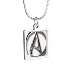 International Atheism Symbol Silver Square Necklac