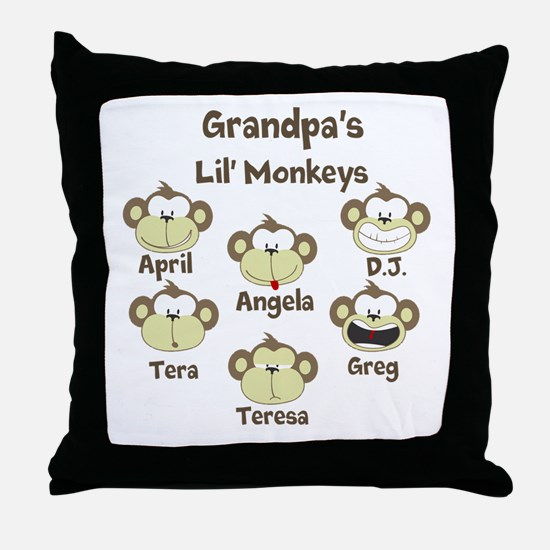 Custom kids monkeys Throw Pillow