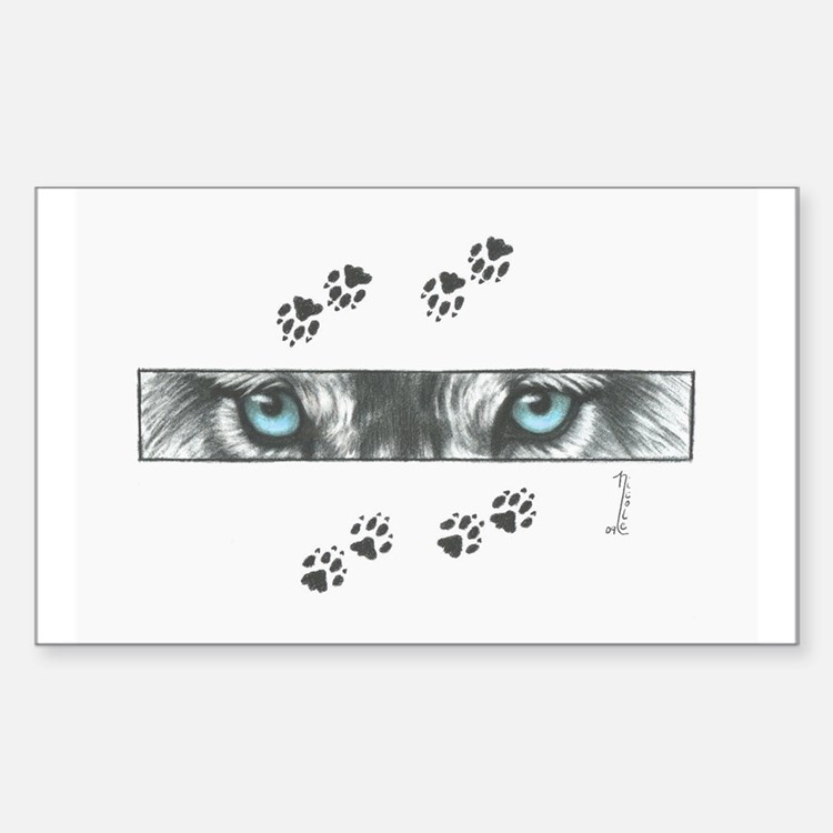 """""""Wolf Eyes & Paw Prints"""" Decal"""