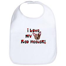 I Love My Red Heeler Bib (Cartoon)