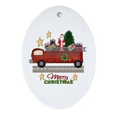 Cute Firefighter holiday Ornament (Oval)
