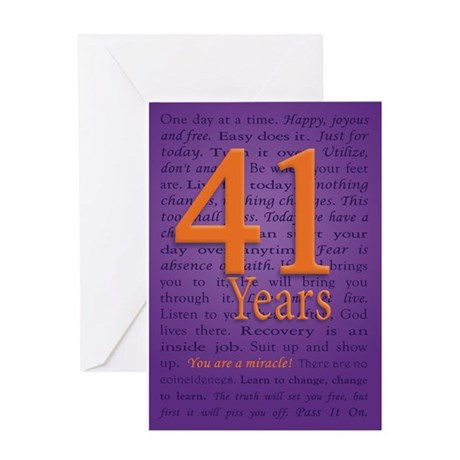 41 Year Recovery Birthday Greeting Card