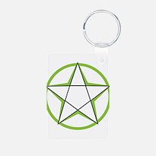Green Pentagram Aluminum Photo Keychain