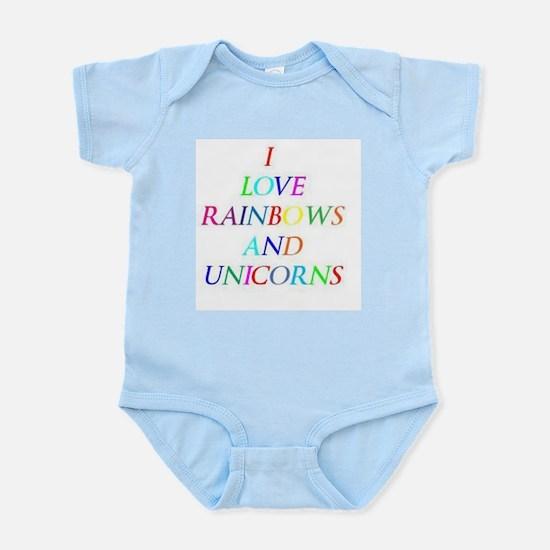 I love rainbows and unicorns Infant Bodysuit