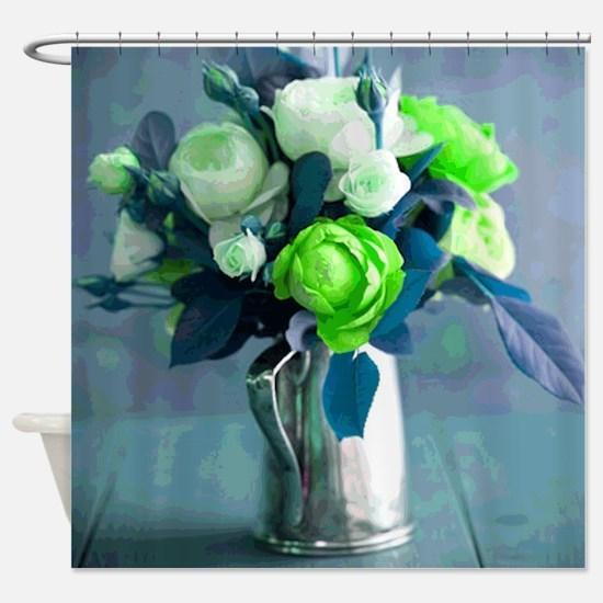 Green Rosebuds in a Vase Shower Curtain