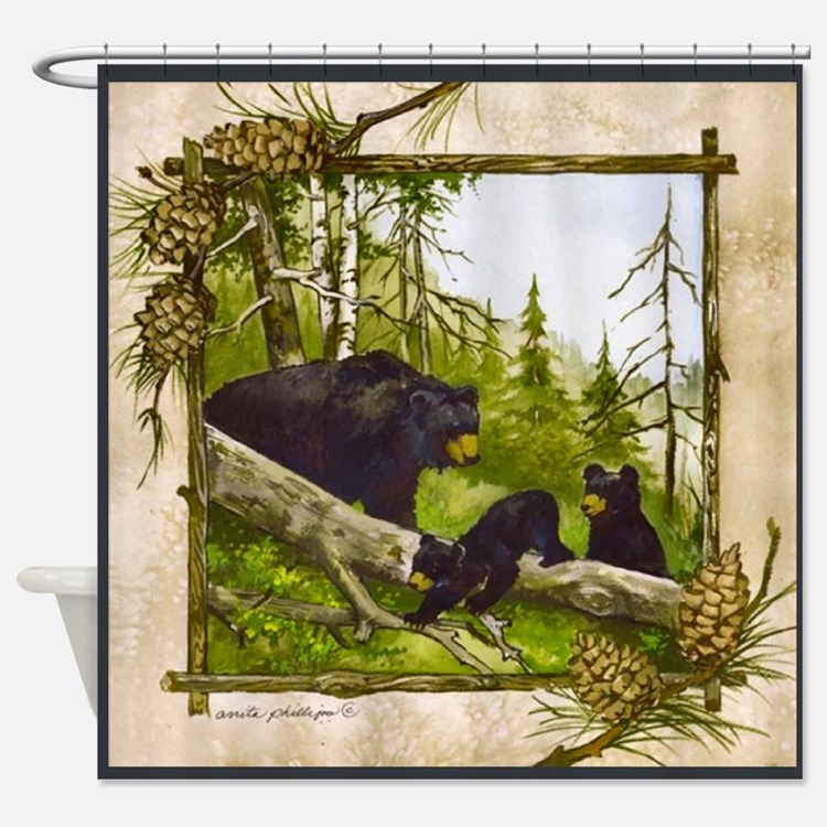 Black Bear Shower Curtains Black Bear Fabric Shower Curtain Liner