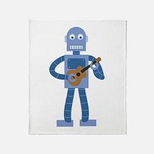 Ukulele Robot Throw Blanket