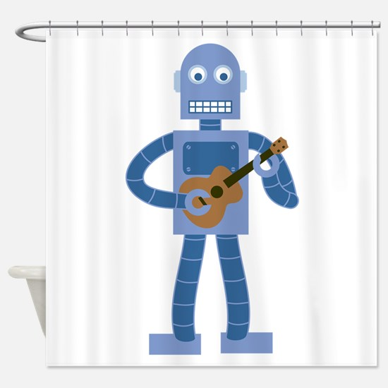 Ukulele Robot Shower Curtain