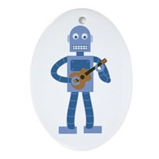 Ukulele Robot Ornament (Oval)