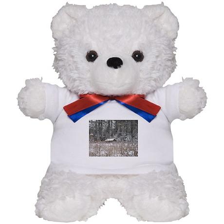 Snow Covered Log Cabin Teddy Bear