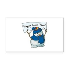 New Years Snowman Rectangle Car Magnet