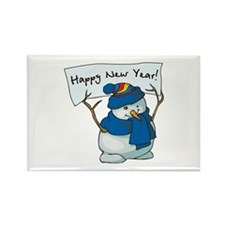 New Years Snowman Rectangle Magnet (100 pack)