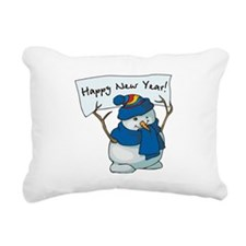 New Years Snowman Rectangular Canvas Pillow