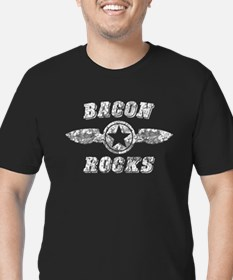 BACON ROCKS Men's Fitted T-Shirt (dark)