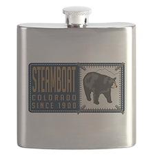Steamboat Black Bear Badge Flask