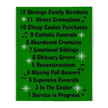 12 days if funeral home green.PNG Throw Blanket