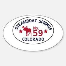 Steamboat Springs Moose Badge Sticker (Oval)