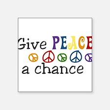 """Give Peace Square Sticker 3"""" x 3"""""""