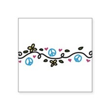 "Peace And Flowers Square Sticker 3"" x 3"""