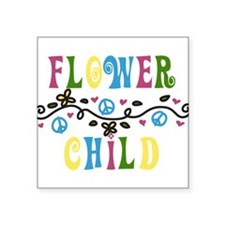 "Flower Child Square Sticker 3"" x 3"""