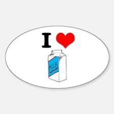 I Heart (love) Milk Oval Decal