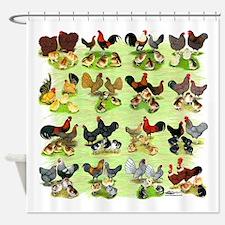16 Chicken Families Shower Curtain