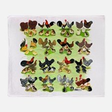 16 Chicken Families Throw Blanket