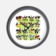 16 Chicken Families Wall Clock