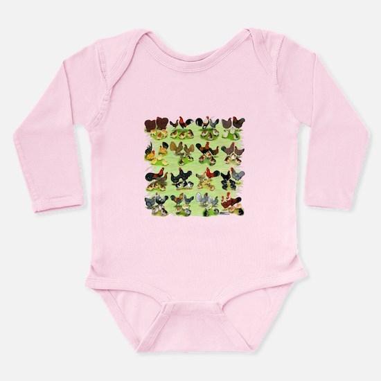 16 Chicken Families Long Sleeve Infant Bodysuit