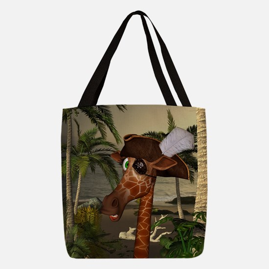 Funny giraffe as pirate on a island Polyester Tote