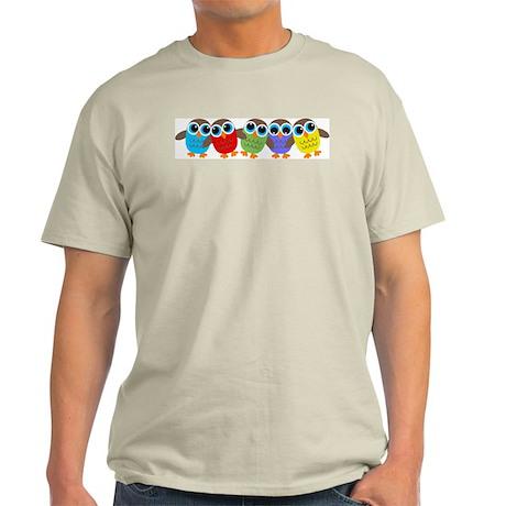 Cute Cartoon Owls in a row Light T-Shirt