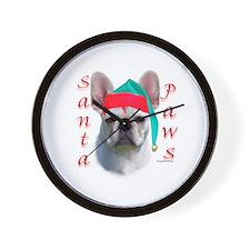 Santa Paws white French Bulldog Wall Clock