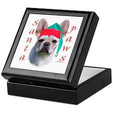 Santa Paws white French Bulldog Keepsake Box