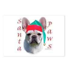 Santa Paws white French Bulldog Postcards (Package