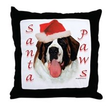Santa Paws Saint Bernard Throw Pillow