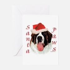 Santa Paws Saint Bernard Greeting Cards (Package o