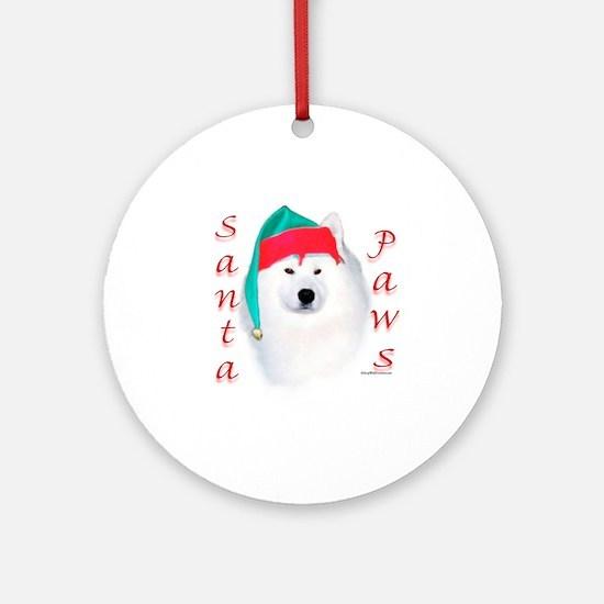 Santa Paws Samoyed Ornament (Round)