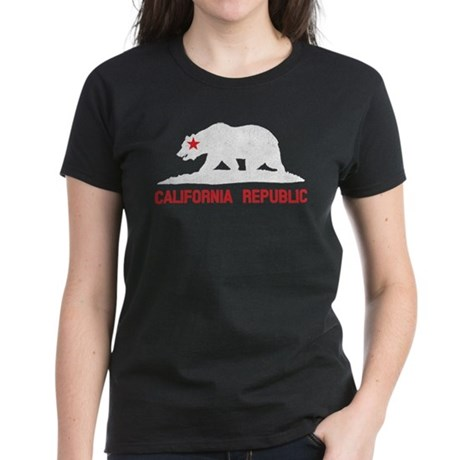 California Grunge Bear Women's Dark T-Shirt