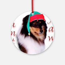 Santa Paws Sheltie Ornament (Round)