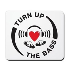 DJ turn up the bass red and black design Mousepad