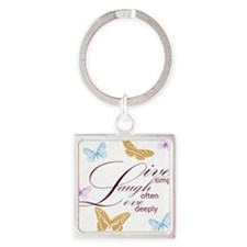 Live, Laugh, Love Simply Butterflies Square Keycha