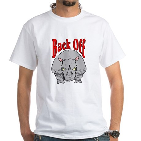 Rhino: Back Off White T-Shirt