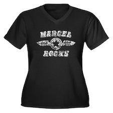 MARCEL ROCKS Women's Plus Size V-Neck Dark T-Shirt