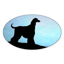 Afghan Hound Blue Sunset Oval Decal