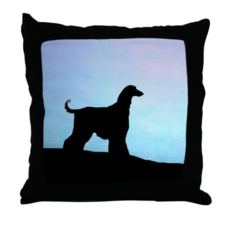 Afghan Hound Blue Sunset Throw Pillow