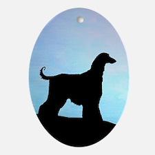Afghan Hound Blue Sunset Oval Ornament