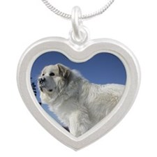 Great Pyrenees Silver Heart Necklace