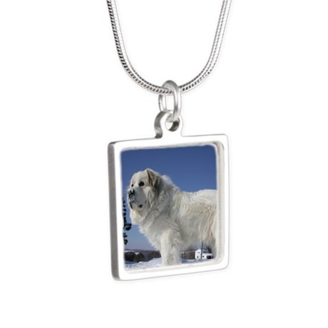 Great Pyrenees Silver Square Necklace