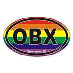 Outer Banks Oval Sticker with Rainbow Background a