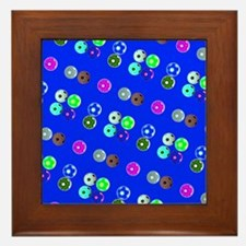 Blue Hello Soccer Football Fiesta Framed Tile
